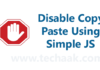 disble copy paste using html in blogger or wordpress